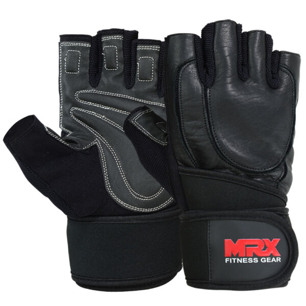 New Weight Lifting Glove Gym Fitness Training Workout Brand MRX Leather Wrist BK