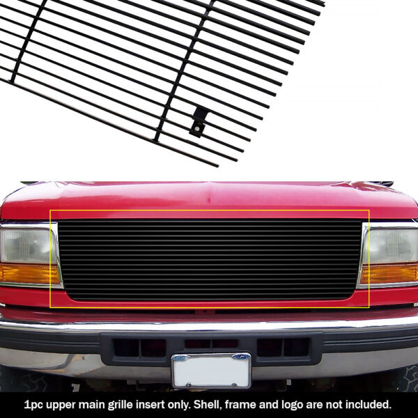 Fits 92-96 Ford Bronco/F-Series Pickup Black Billet Grille Grill Insert