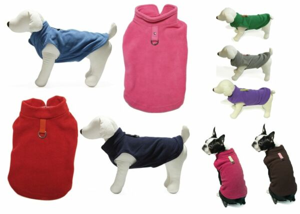 Gooby Fleece VEST Soft Dog Sweater Harness All Colors-Sizes Easy On/Off w O-Ring