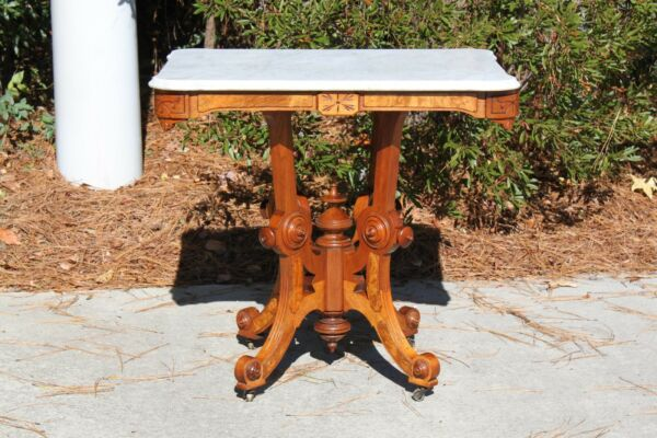 Fancy Large Burl Walnut Victorian Scalloped Marble Top Center Table Ca.1870 $765.00