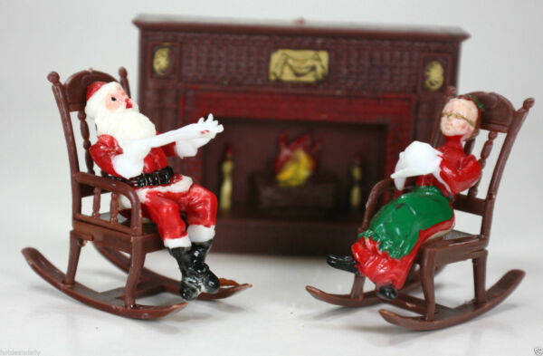 10 PC LOT CHRISTMAS CAKE TOPPER MR AND MRS SANTA CLAUS FIREPLACE ROCKING CHAIR