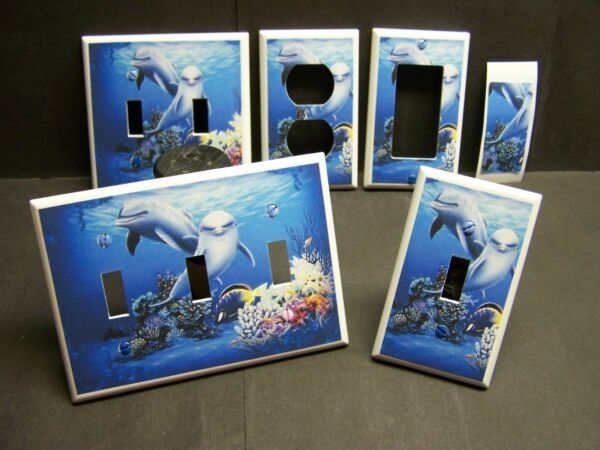 DOLPHINS AT PLAY  #21  LIGHT SWITCH COVER PLATE OR OUTLET HOME DECOR