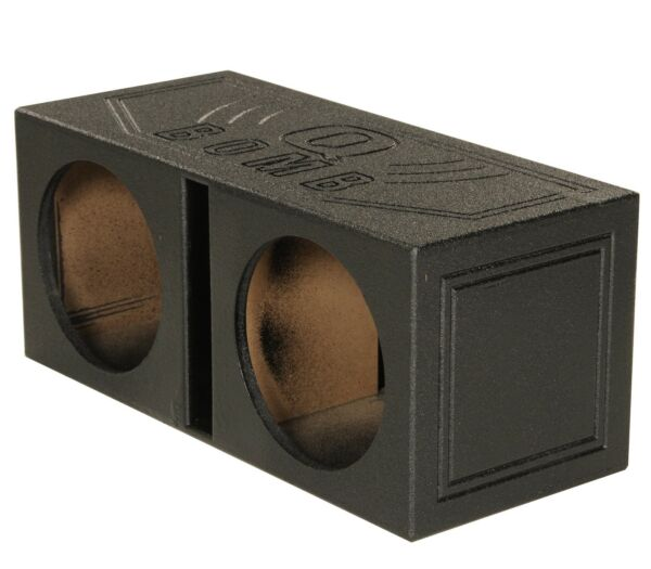 QPower QBOMB12V Dual 12quot; Vented Ported Subwoofer Sub Box with Bedliner Spray