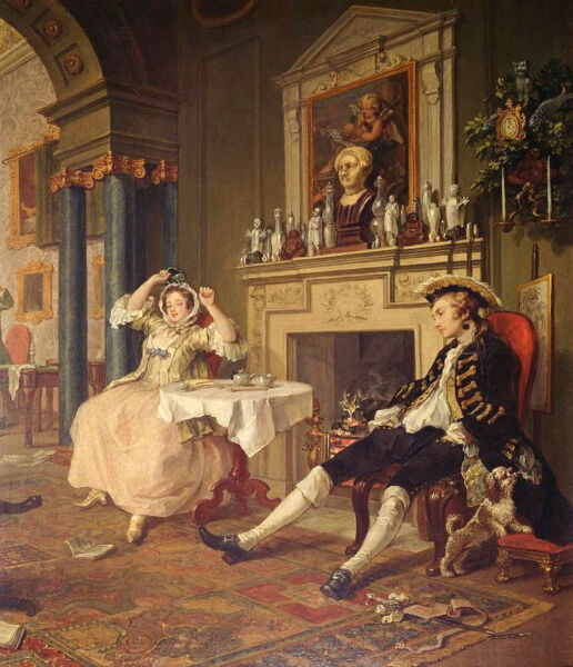 Art No framed oil painting portraits happy young couple in room by Fireplace 36quot;