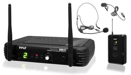 New Pyle PDWM1904 2 Mics UHF Wireless Microphone System W Selectable Frequency