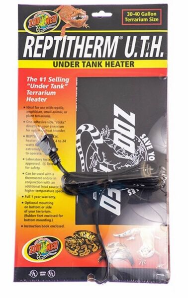 ZOO MED REPTITHERM UNDER TANK HEATER 30 40 GAL $922.95