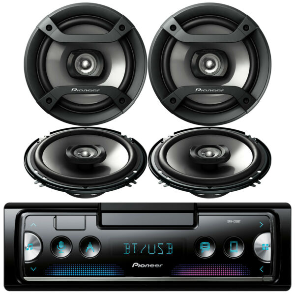 Pioneer Bluetooth Stereo Receiver 4x JVC CSJ620 6.5quot; 2 Way Car Speakers Black $208.49