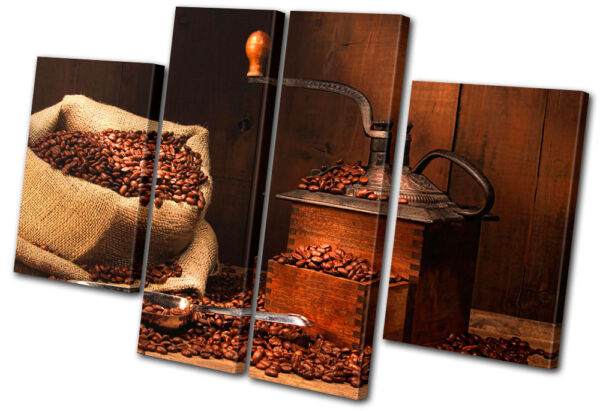 Food Kitchen Coffee Grinder Beans MULTI CANVAS WALL ART Picture Print VA