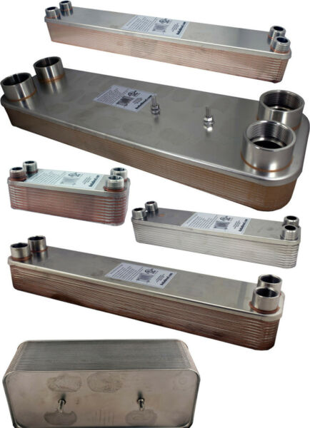 Stainless Steel Copper Brazed Heat Exchanger Mounting Studs Water Boiler Radiant