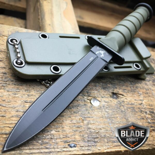 6quot; TACTICAL COMBAT NECK KNIFE Survival Hunting MILITARY BOWIE DAGGER Fixed Blade
