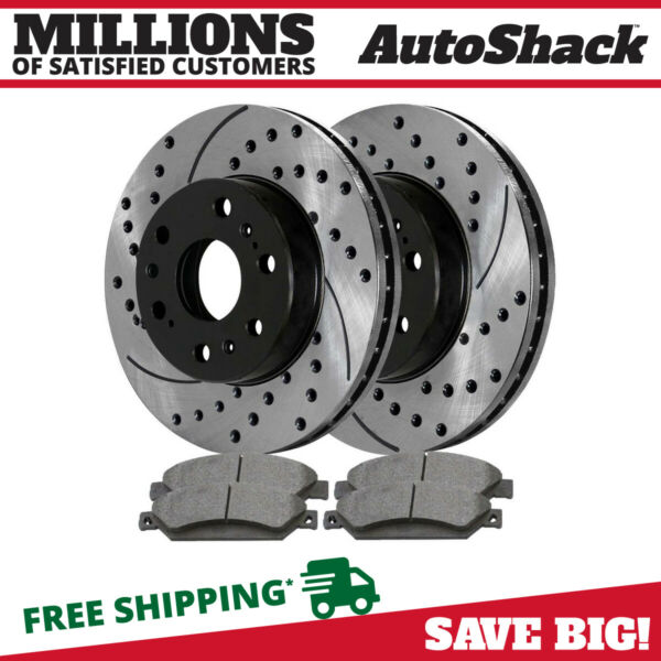 Front Drilled and Slotted Brake Rotors Ceramic Pads for 2011-2018 Chevy Tahoe