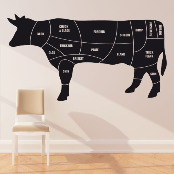 Cuts of meat diagram wall sticker beef cow butchers decal cm3 GBP 22.99