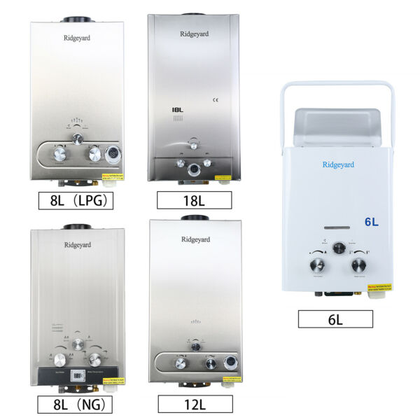 LPGNG 1.623.25GPM Hot Water Heater Stainless Tankless Boiler w Shower Head