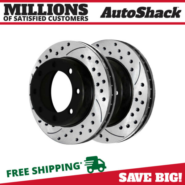 Front Drill Slotted Brake Rotors Pair (2) For 05-12 Ford F-250 Super Duty 680280