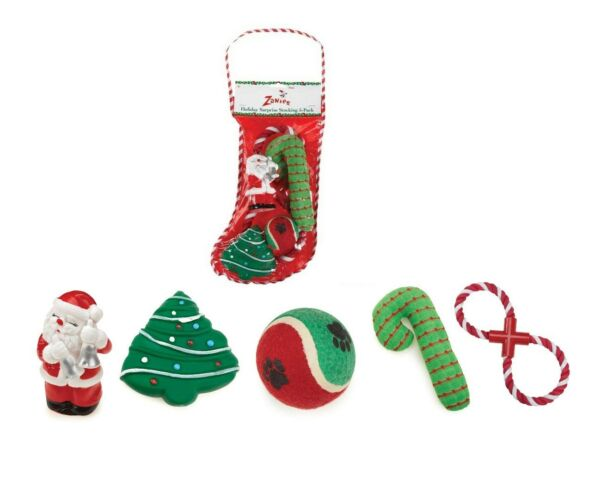 Holiday Stockings Gift for Dogs Christmas Theme Dog Toy Stocking Set of 5 Toys