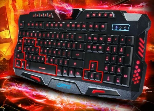 3 Color Backlit Pro Gaming USB Keyboard Multimedia Illuminated LED USB Wired