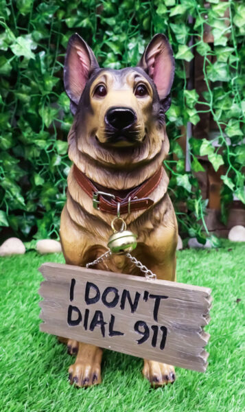 Faithful Collared German Shepherd Guard Dog Large Figurine Holding Sign Statue $49.99
