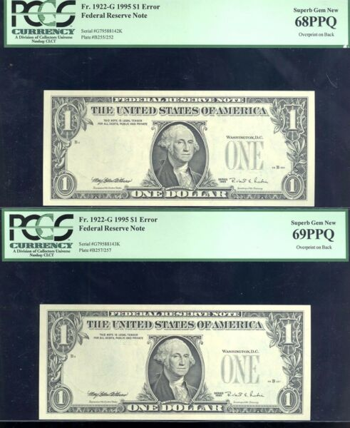 1995E $1 FRN 2 CON-OVERPRINT ON BACK-PCGS  68-69-ONLY KNOWN