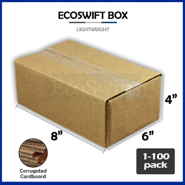 1 100 8x6x4 quot;EcoSwiftquot; Cardboard Packing Mailing Shipping Corrugated Box Cartons