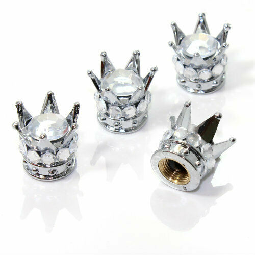 4 Chrome Silver Crown Clear Diamond Bling Tire/Wheel Stem Valve Caps car truck