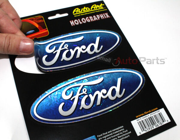 (2) Ford Blue Oval Logo Chrome look Emblems car truck suv hood/rear/trunk Decals