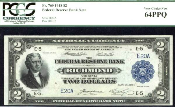 1918 $2 FR 760- FR-760 Richmond VA-FINEST & LOWEST S # 20! Only 3 in all