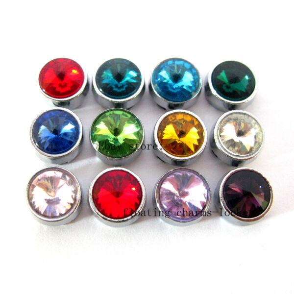 012pcs 8MM Birthstone Slide Charms for DIY Bracelet Pet Collar Free Shipping $1.62