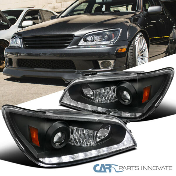 For 01 05 Lexus IS300 Black Integrated LEDSignal Projector Headlights Pair