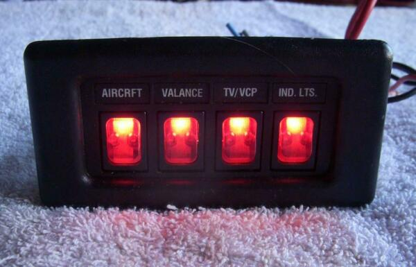 Chevy Dodge Ford GM Custom Van 12v Four Lighted Red Switches Control Panel RV