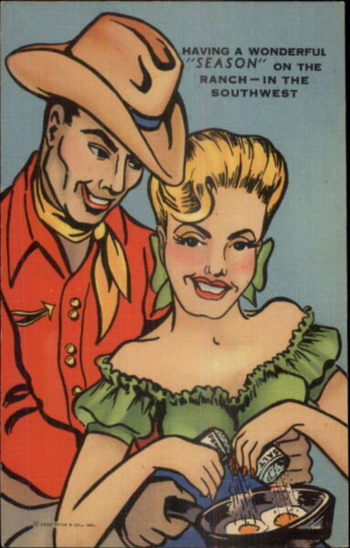 Dark Skinned Cowboy & Sexy Blond Woman Make Eggs in the Southwest LINEN