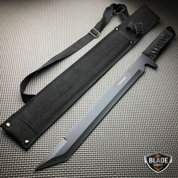 18quot; SURVIVAL HUNTING Tactical Full Tang FIXED BLADE MACHETE Knife Ninja Sword