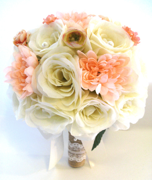17 piece Wedding Flowers Bridal silk Bouquet PEACH CREAM BURLAP LACE Package
