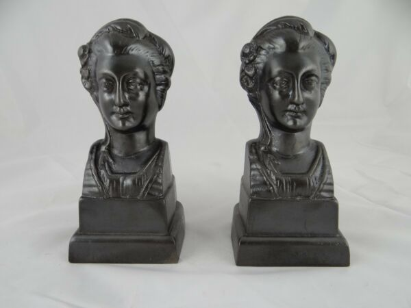 Antique French Figural Cast Iron Andirons  Fire Dogs Book Ends