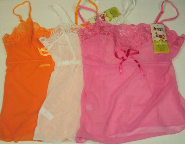 Lace Camisole Teddy Small Ladies Teens Girls ~  Pink or Orange NEW $7.50