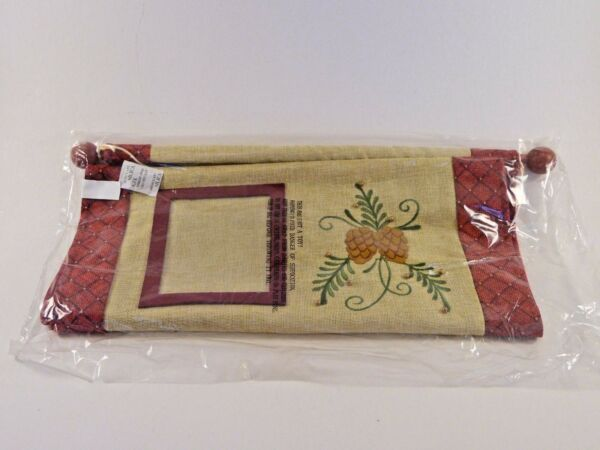 Christmas Dark Red amp; Tan Burlap Like Pine Cone Bead Picture Frames Wall Hanging