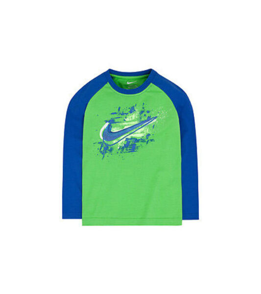 NIKE Toddler SHOCK SWOOSH Long Sleeve Tee T-Shirt ** GREEN PULSE/MULTI ** NWT