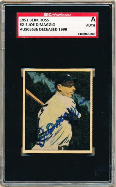 JOE DIMAGGIO 1951 Berk Ross #2-5 AUTOGRAPH SGC Authentic AUTO SIGNED Card RARE