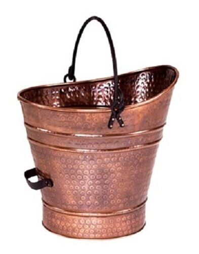 COAL HOD ANTIQUE COPPER PLATED PAIL CORN WOOD PELLET STOVE INSERT Rear Handle