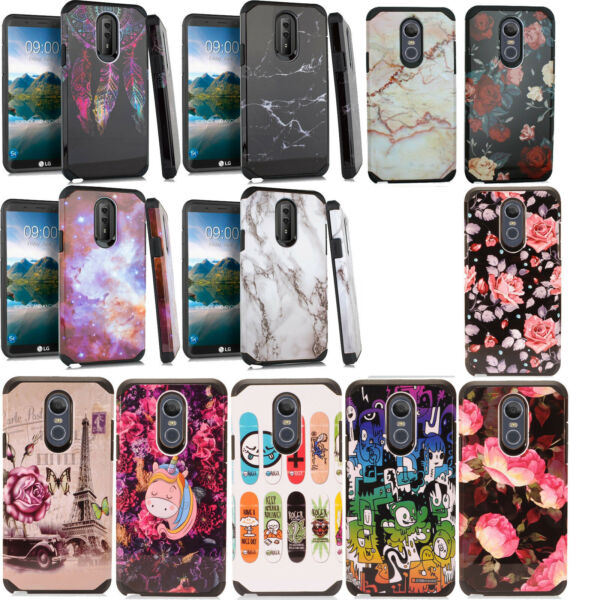 For LG Stylo 4 HARD Astronoot Hybrid Rubber Silicone Case Cover + Screen Guard