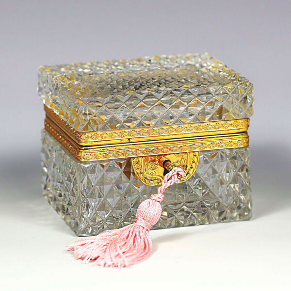 Antique French crystal glass hinged trinket Box Casket working lock original key