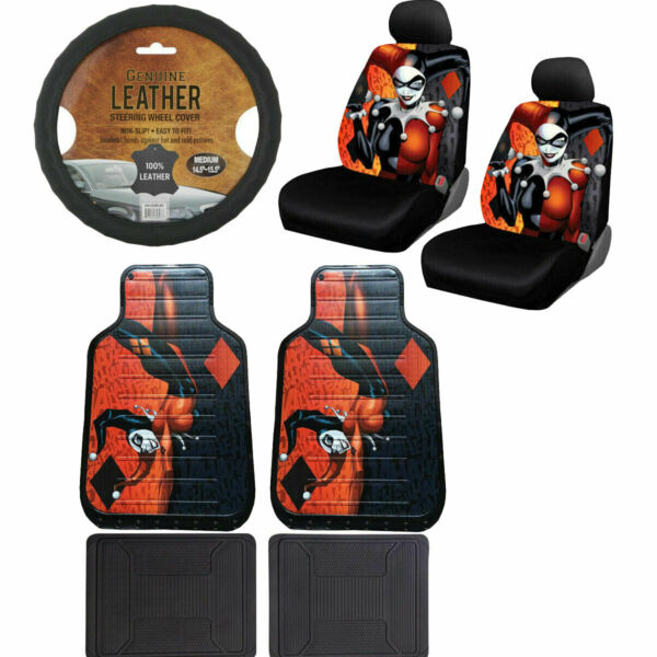 New Harley Quinn Car Truck Front Seat Covers amp; Floor Mats amp; Steering Wheel Cover $99.97