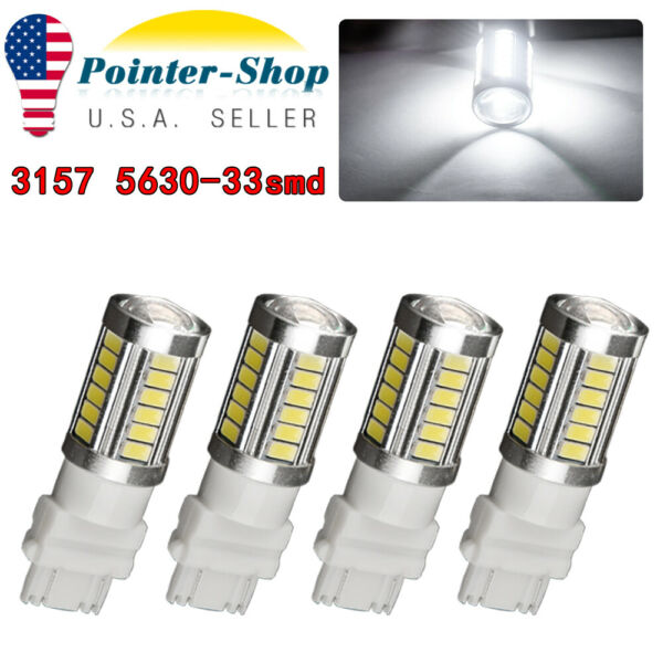 4 X White 3157 3156 5730 5630 6000K 33SMD LED Interior Brake Light Bulbs 12V-24V