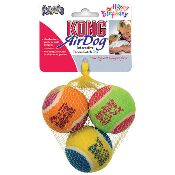 Dog Happy Birthday Tennis Ball 3 Pack Bright Colorful Squeak Ball Chew Toy