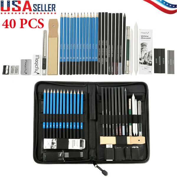 41pcs Professional Drawing Artist Kit Set Pencils and Sketch Charcoal Art