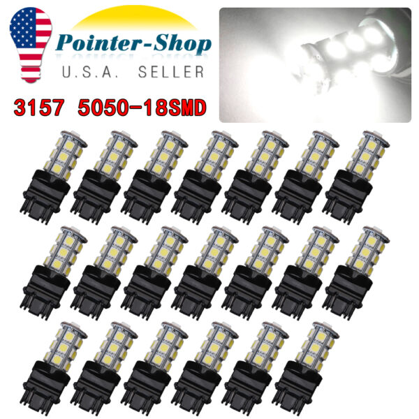 20X Pure White 3157 5050 18SMD LED Car Tail Brake Stop Light 3156 3057 3457