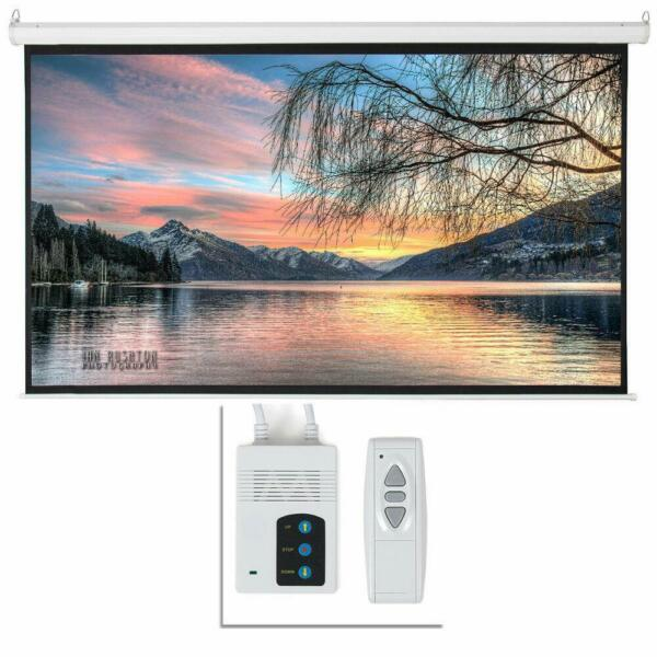 92quot; inch 16:9 HD Electric Motorized Projector Screen Projection Remote Control $76.99
