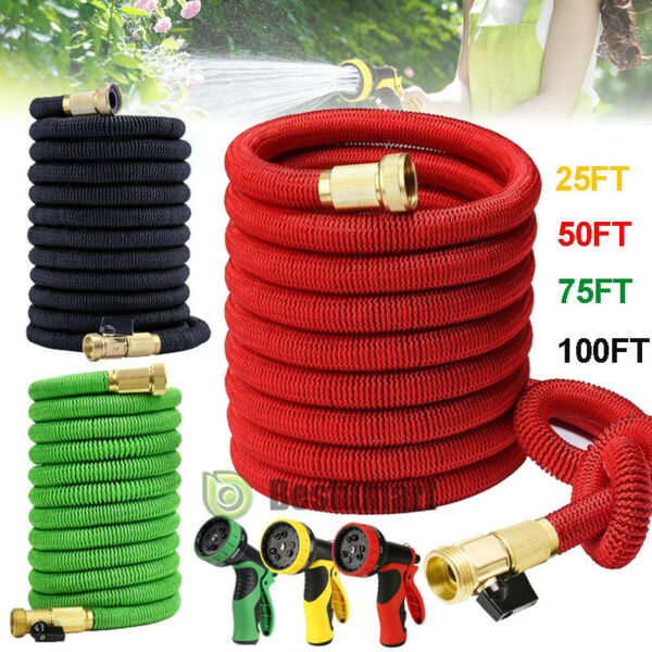 Deluxe 25 50 75 100 Ft Expandable Flexible Garden Water Hose w Spray Nozzle