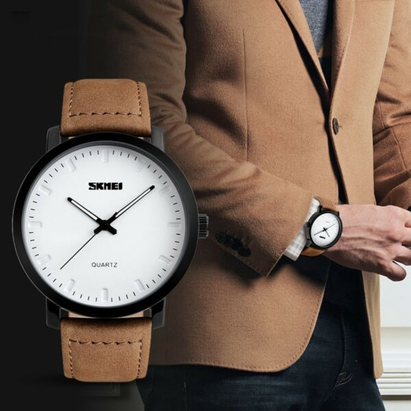 Mens Unique Analog Quartz Waterproof Business Casual Leather Dress Wrist Watch