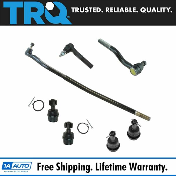 7 Piece Steering & Suspension Kit Upper & Lower Ball Joints w/ Tie Rod Ends New