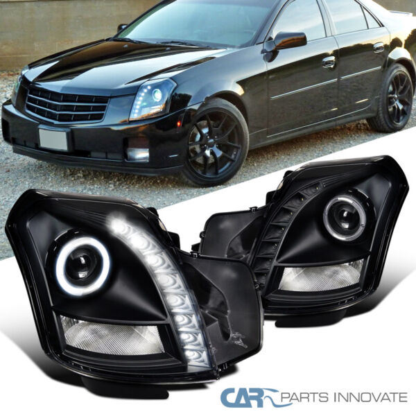 For Cadillac 03-07 CTS SMD LED Strip Halo Black Projector Headlights Head Lamps